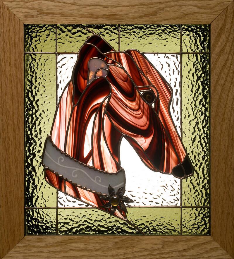 Greyhound stained glass portrait. Brindle Greyhound