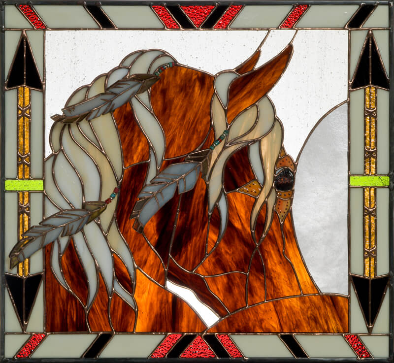 Equine stained glass portrait. Morning Star