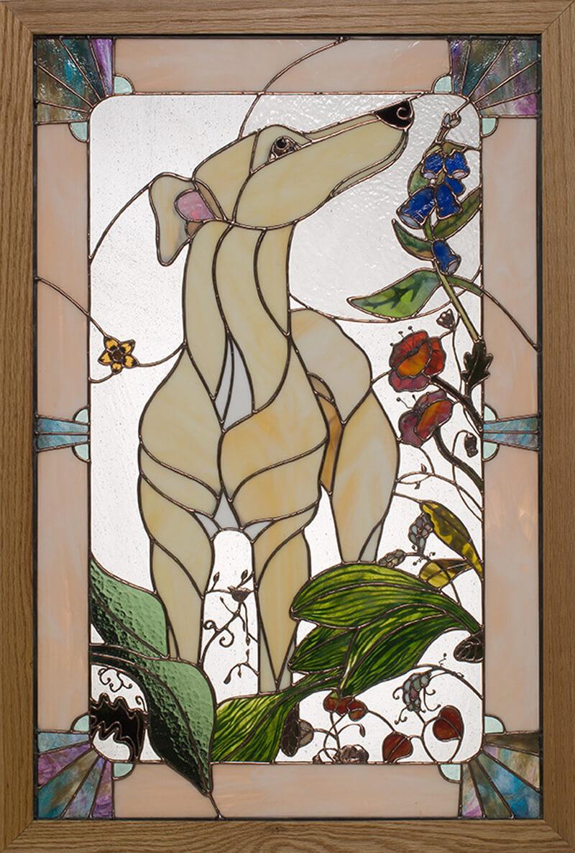 Greyhound stained glass portrait. Red's Garden