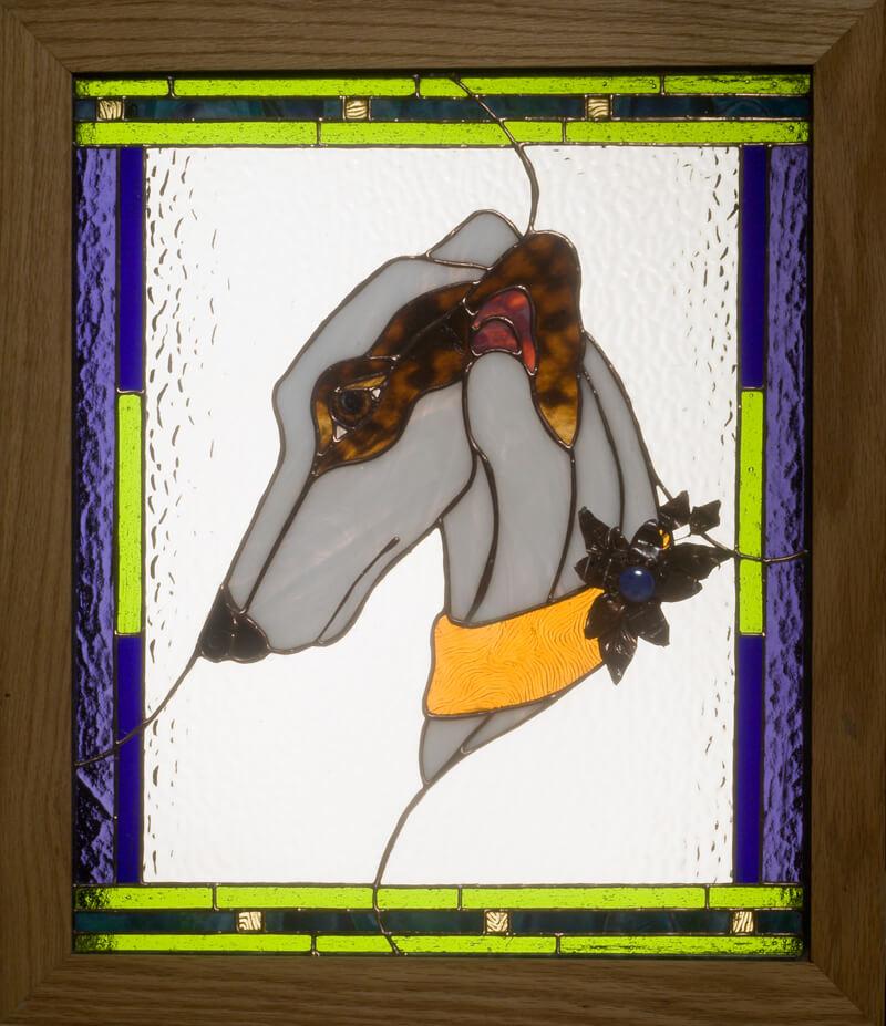 Greyhound stained glass portrait. Greyhound in Blue